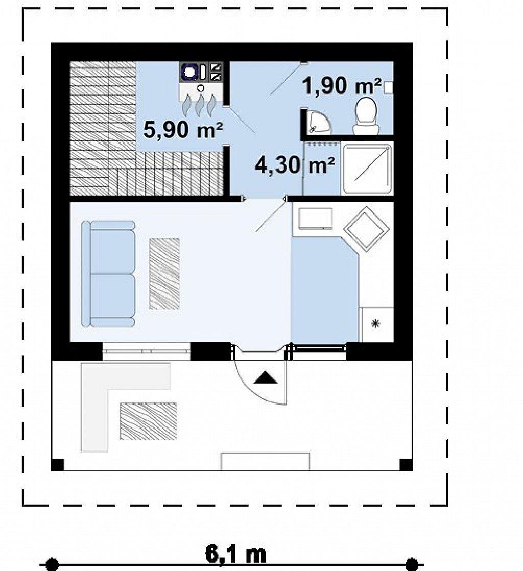 Проект дома из арболита в Тюмени b1-32 планировка