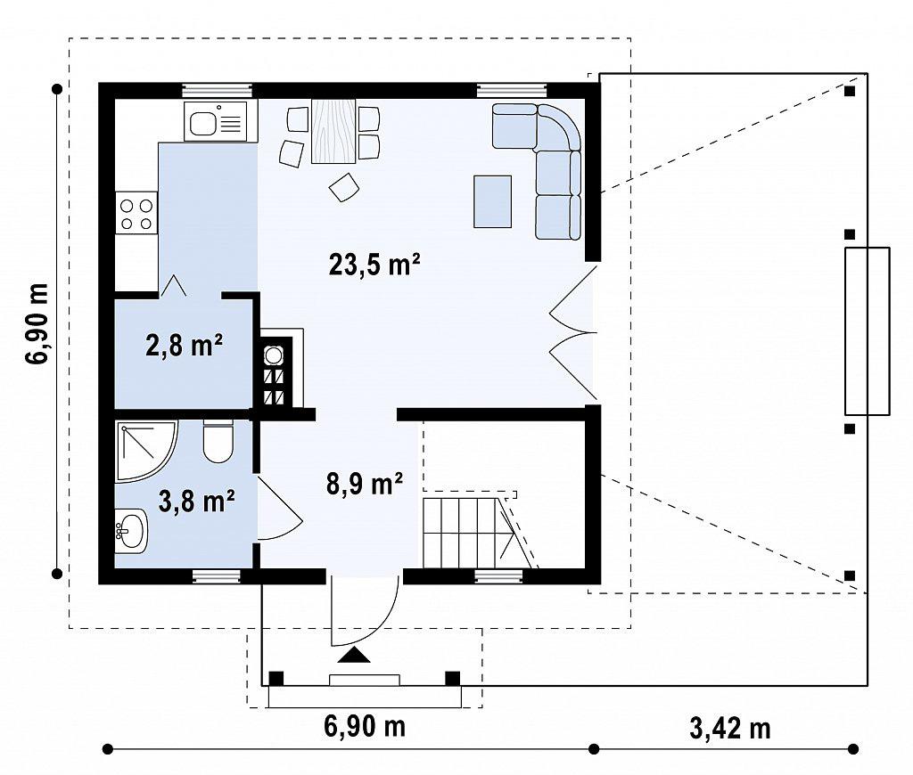 Проект дома из бруса в Тюмени с мансардой m1-92 план