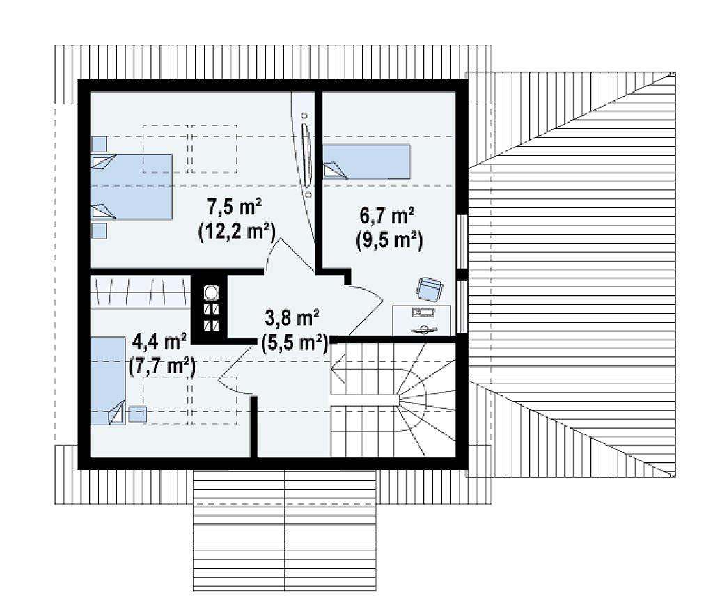 Проект дома из бруса в Тюмени с мансардой m1-92 планировка