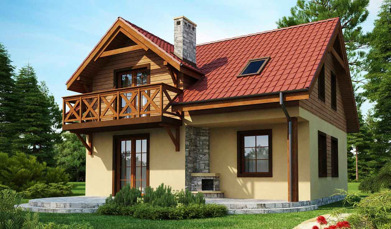 Проект дома с мансардой из оцилиндрованного бревна в Тюмени m13-150-1