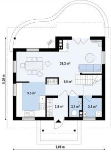 Проект дома с мансардой из арболитовых блоков в Тюмени m13-150-3