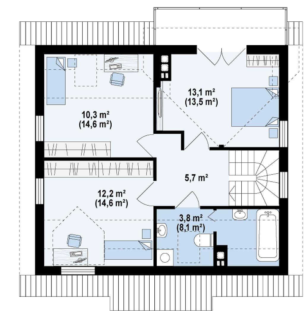 Проект дома с мансардой из оцилиндрованного бревна в Тюмени m13-150 планировка