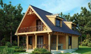 Проект мансардного дома из клееного бруса m14-152-1