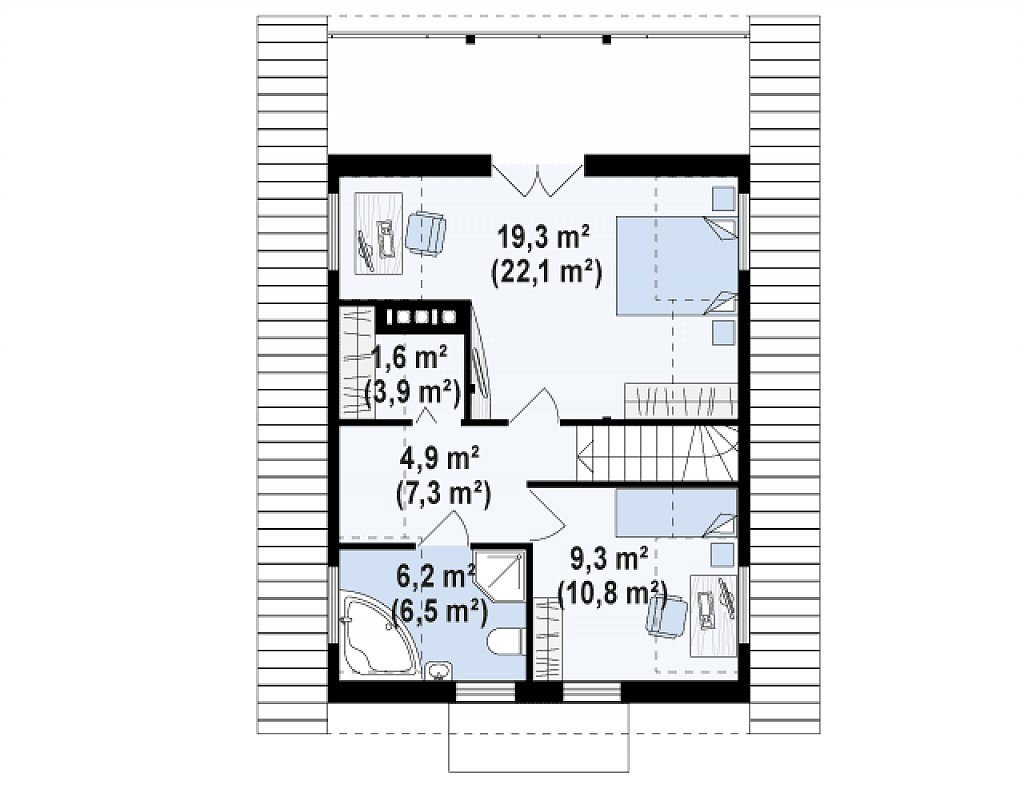Проект мансардного дома m14-152 планировка