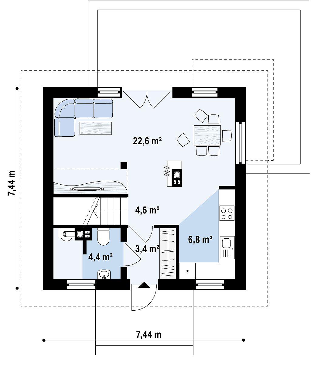 Проект каркасного дома с мансардой в Тюмени m2-110 план