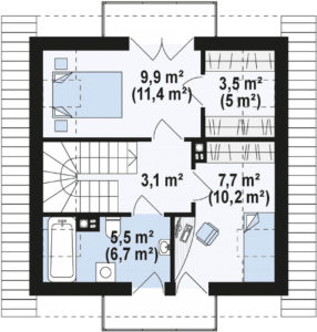 Проект каркасного дома с мансардой в Тюмени m2-110 планировка