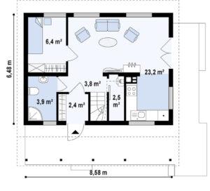 Арболит. Проект дома с мансардой m4-11-1 планировка в Тюмени