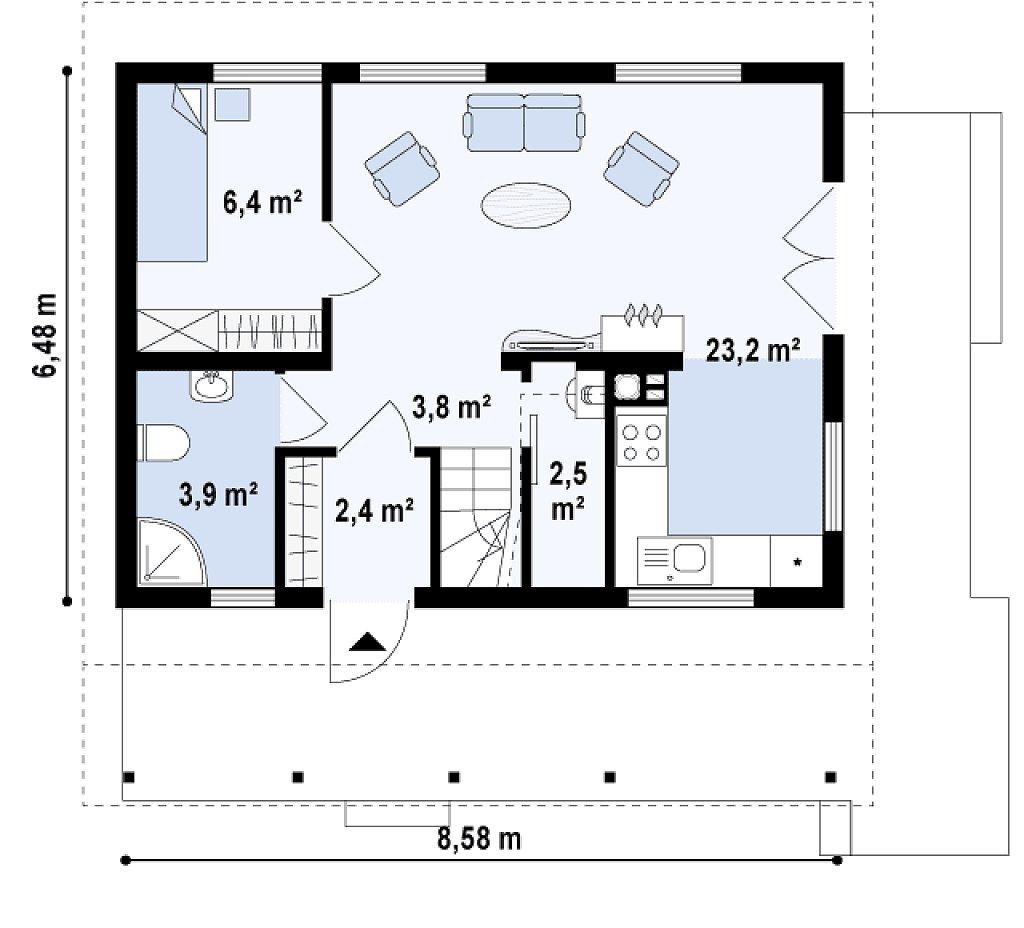 Клееный брус. Проект дома с мансардой m4-11-1 планировка в Тюмени
