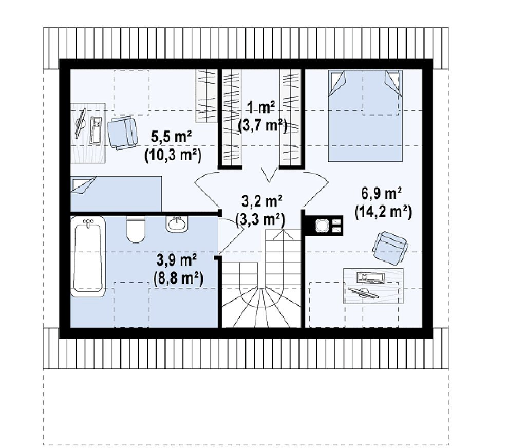 Арболит. Проект дома с мансардой m4-11 план в Тюмени