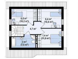 Дома из кирпича в Тюмени с мансардой m5-126 планировка