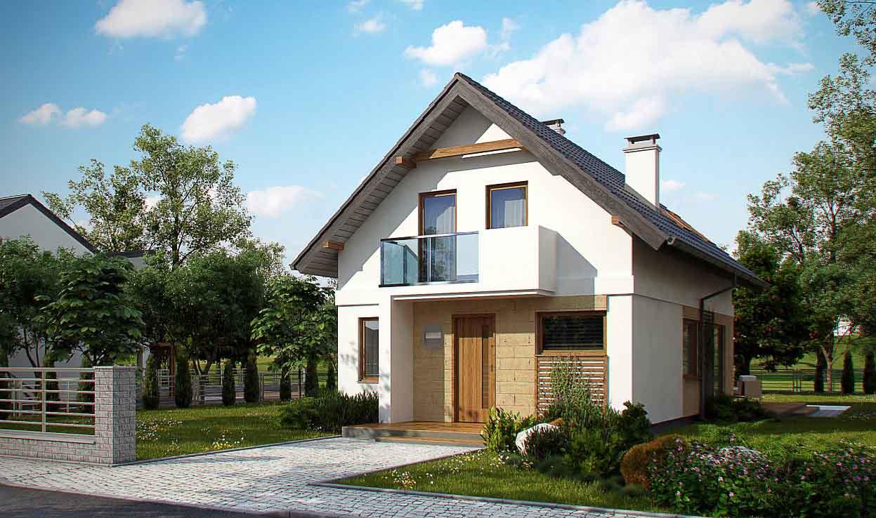 Проект дома с мансардой из керамзитобетонных блоков в Тюмени m8-140-1