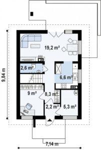 Проект дома с мансардой из керамзитобетонных блоков в Тюмени m8-140 план