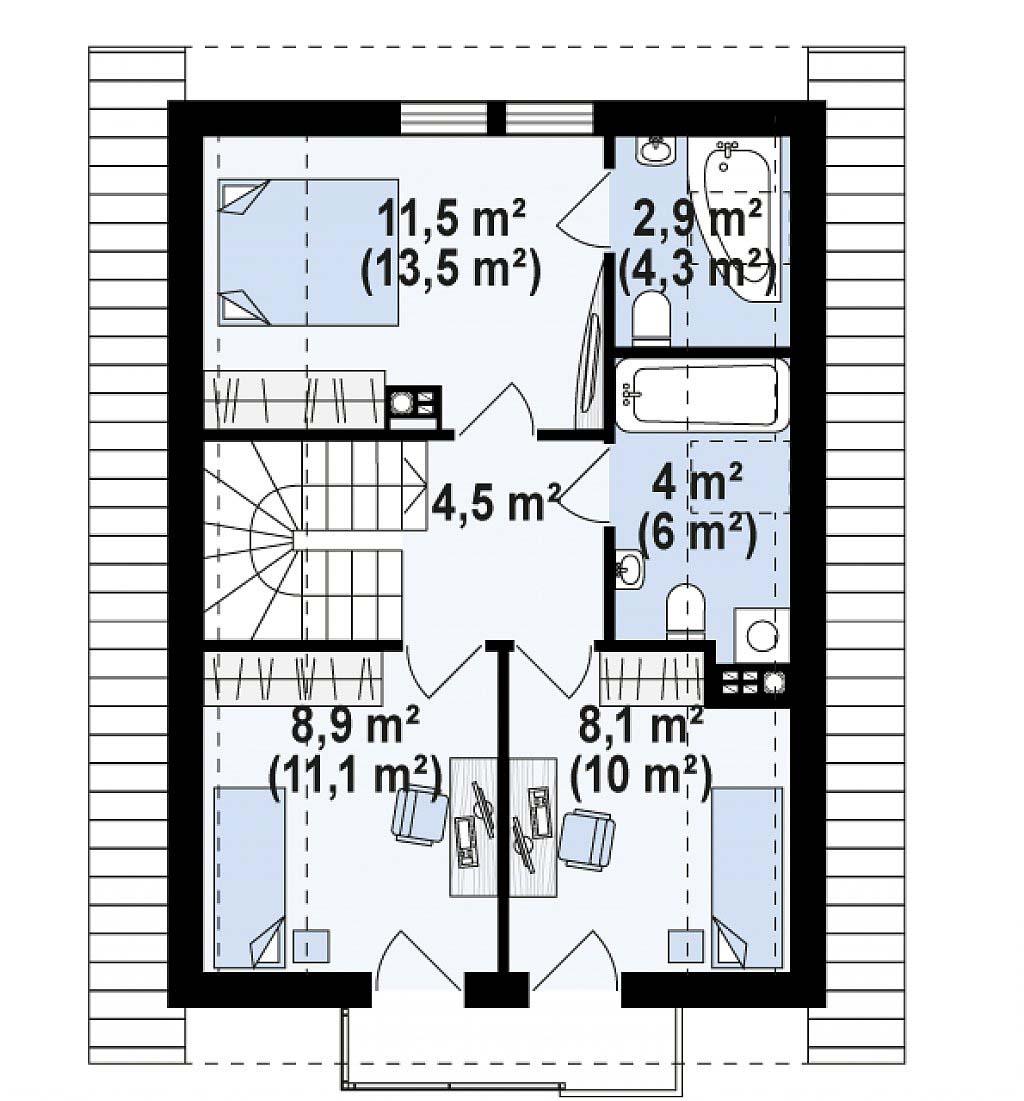 Проект дома с мансардой из керамзитобетонных блоков в Тюмени m8-140 планировка