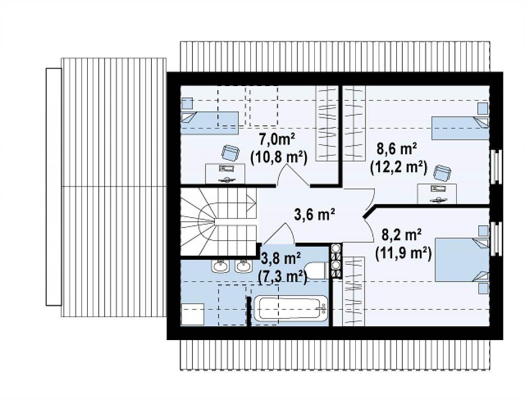 Проект каркасного дома с мансардой в Тюмени mg1-142 планировка