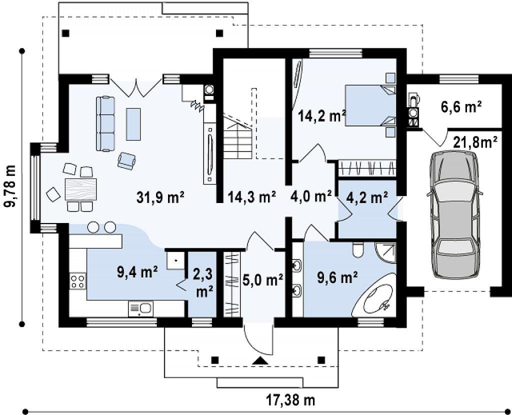 Проект дома из бруса с гаражом в Тюмени mg10-272 план