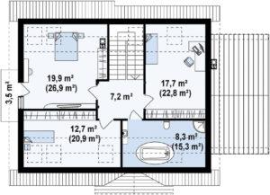 Проект дома из бруса с гаражом в Тюмени mg10-272 планировка