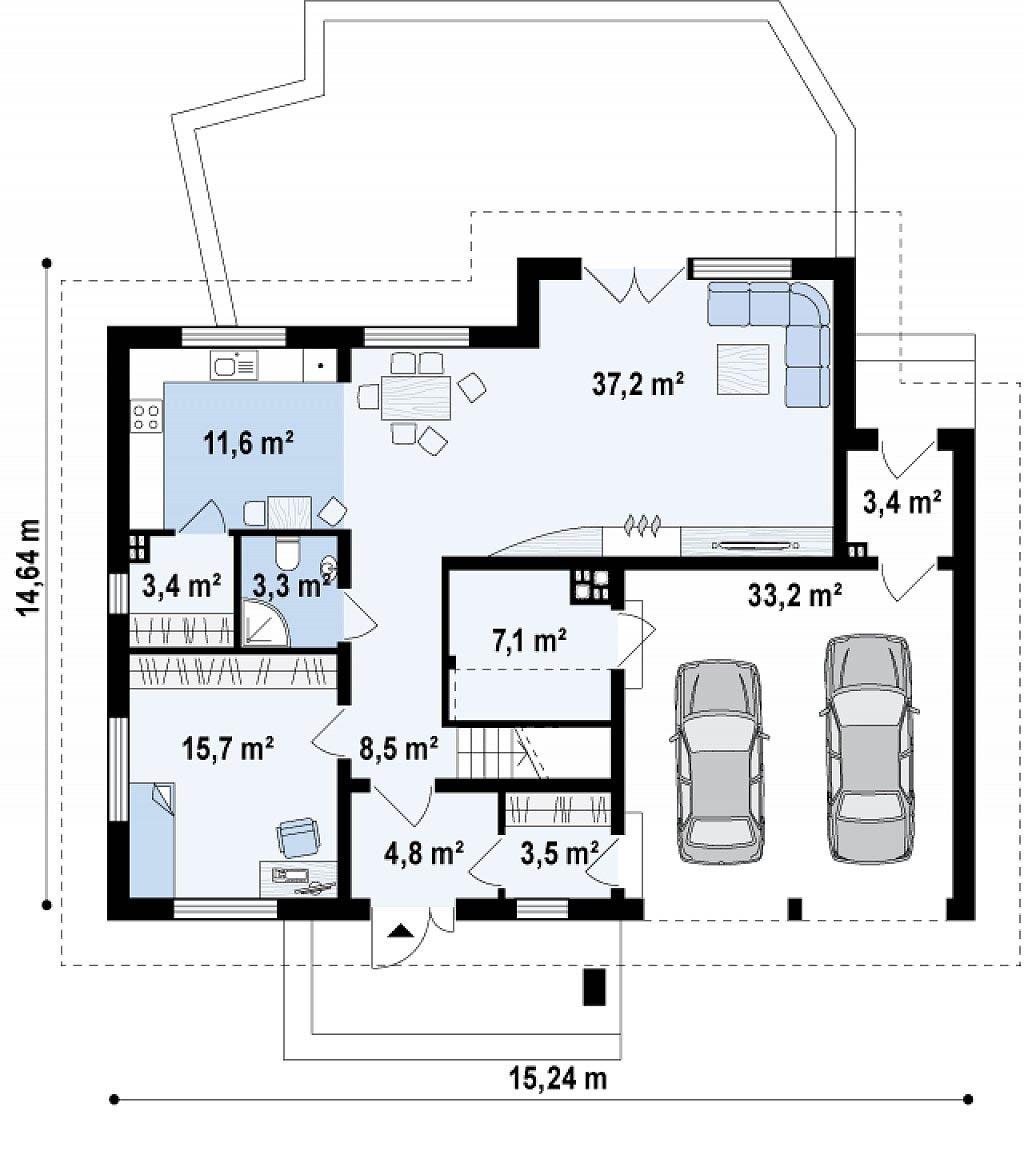 Проект дома из арболита в Тюмени mg14-411 план