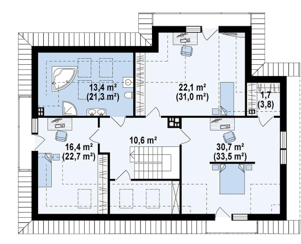 Проект дома из арболита в Тюмени mg14-411 планировка