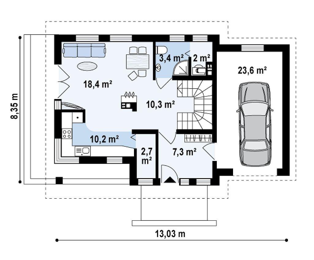 Проект дома с мансардой и гаражом из клееного бруса mg5-177- план