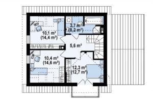 Проект дома с мансардой и гаражом из арболитовых блоков mg5-177-1 в Тюмени второй этаж