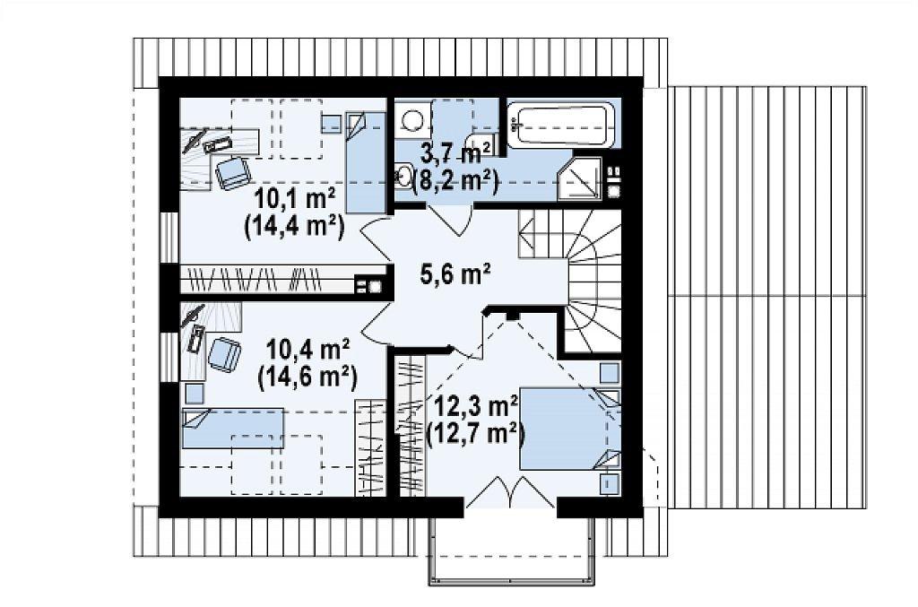 Проект дома с мансардой и гаражом из клееного бруса mg5-177 планировка в Тюмени