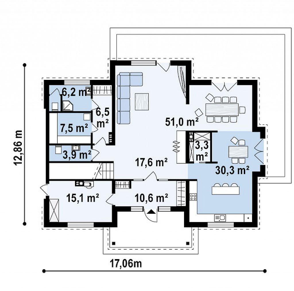 Проект двухэтажного дома из газоблоков в Тюмени n81-389-3