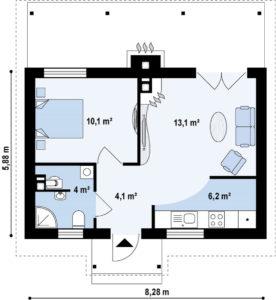Проект одноэтажного дома из клееного бруса в Тюмени s1-148-3