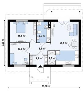 Проект одноэтажного дома из керамзитобетонных блоков в Тюмени s10-91-3