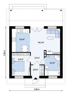 Проект одноэтажного каркасного дома в Тюмени s3-55 планировка