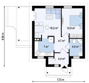 Проект одноэтажного дома из СИП панелей в Тюмени s4-64 планировка