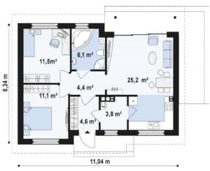 Проект одноэтажного дома из кирпича в Тюмени s8-84 планировка