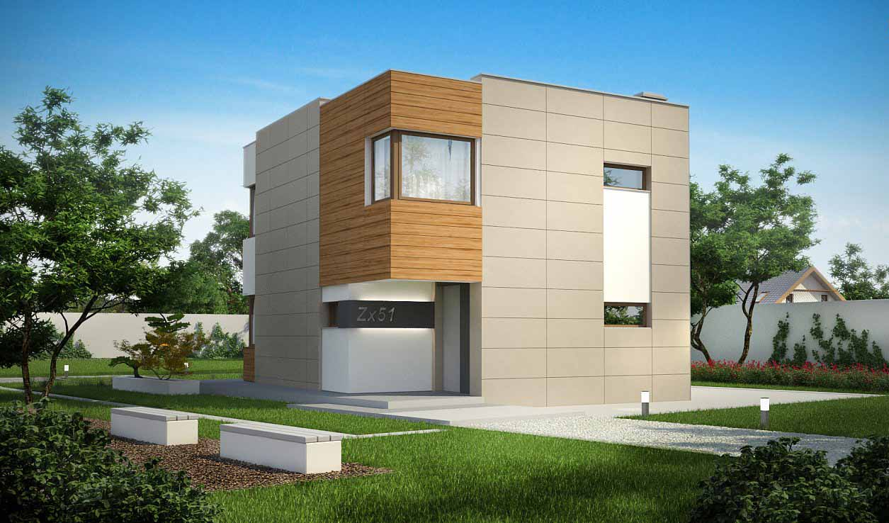 Проект дома с плоской кровлей из сип панелей в Тюмени 1