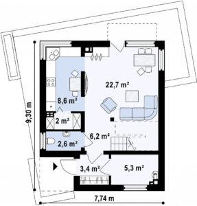 Проект дома с плоской кровлей из сип панелей в Тюмени 3