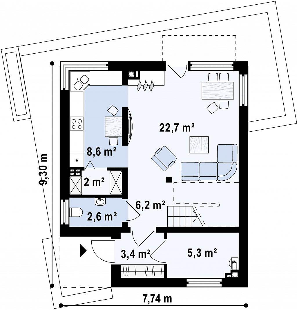 Проект каркасного дома с плоской кровлей в Тюмени 2