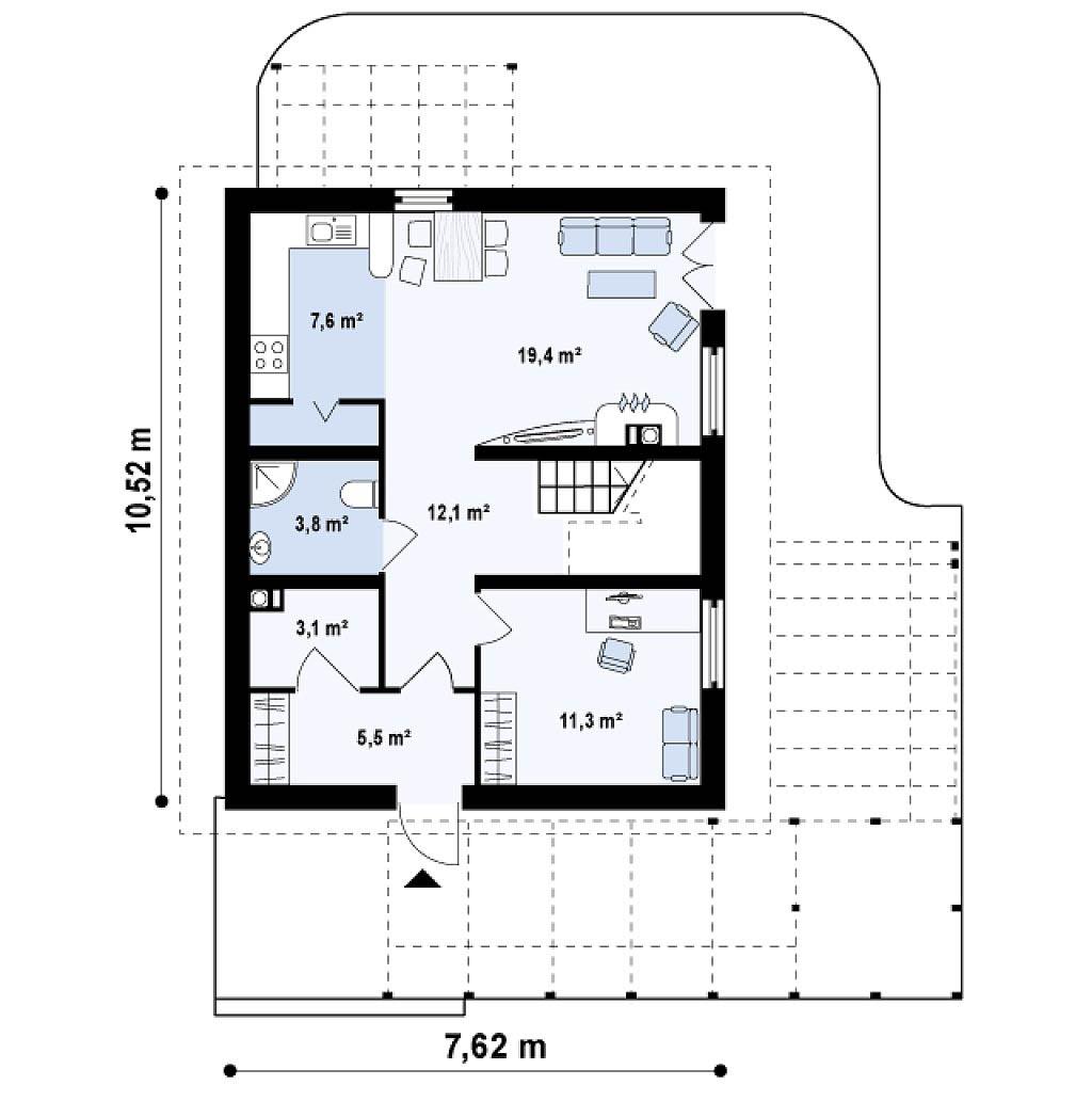Проект двухэтажного дома из бруса в Тюмени t3-160 план