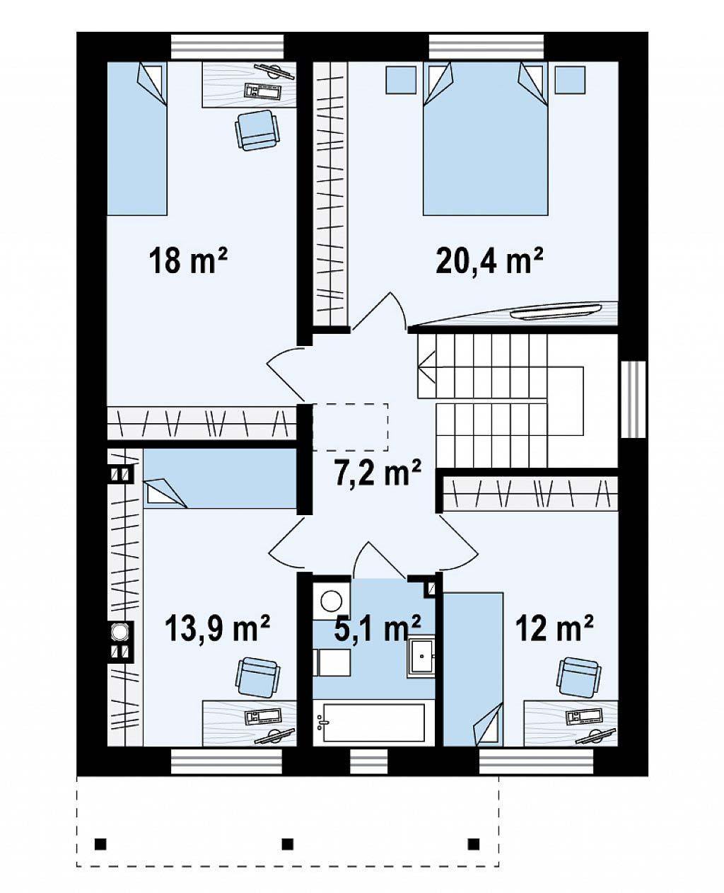 Проект дома из кирпича в Тюмени t5-185 планировка
