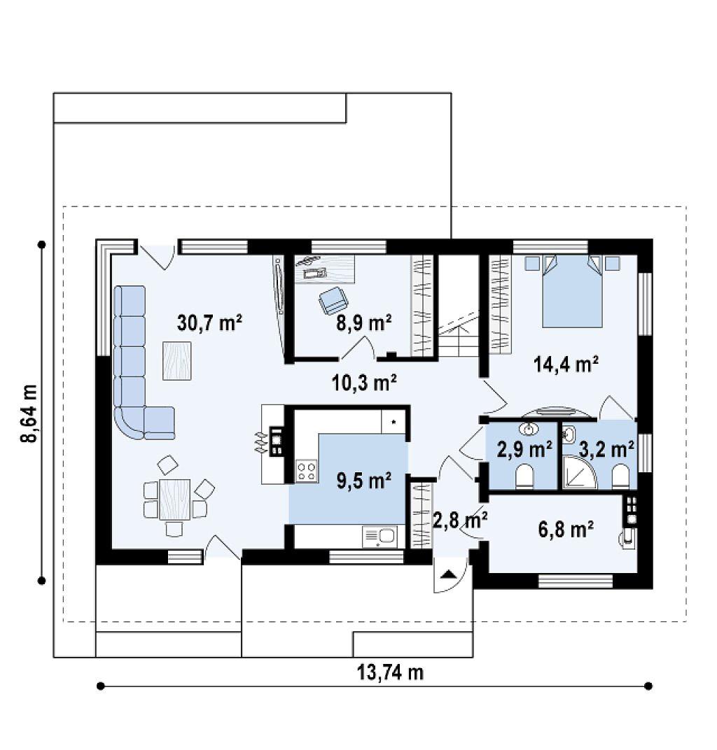 Проект двухэтажного каркасного дома в Тюмени t6-237 план