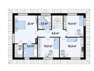 Проект двухэтажного каркасного дома в Тюмени t6-237 планировка