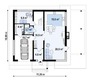 Проект двухэтажного дома из пеноблоков в Тюмени g2-235-3