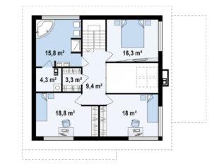 Проект двухэтажного дома из пеноблоков в Тюмени g2-235-4