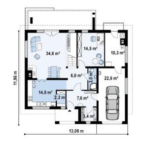Проект двухэтажного дома из керамзитобетонных блоков в Тюмени tg3-272-3