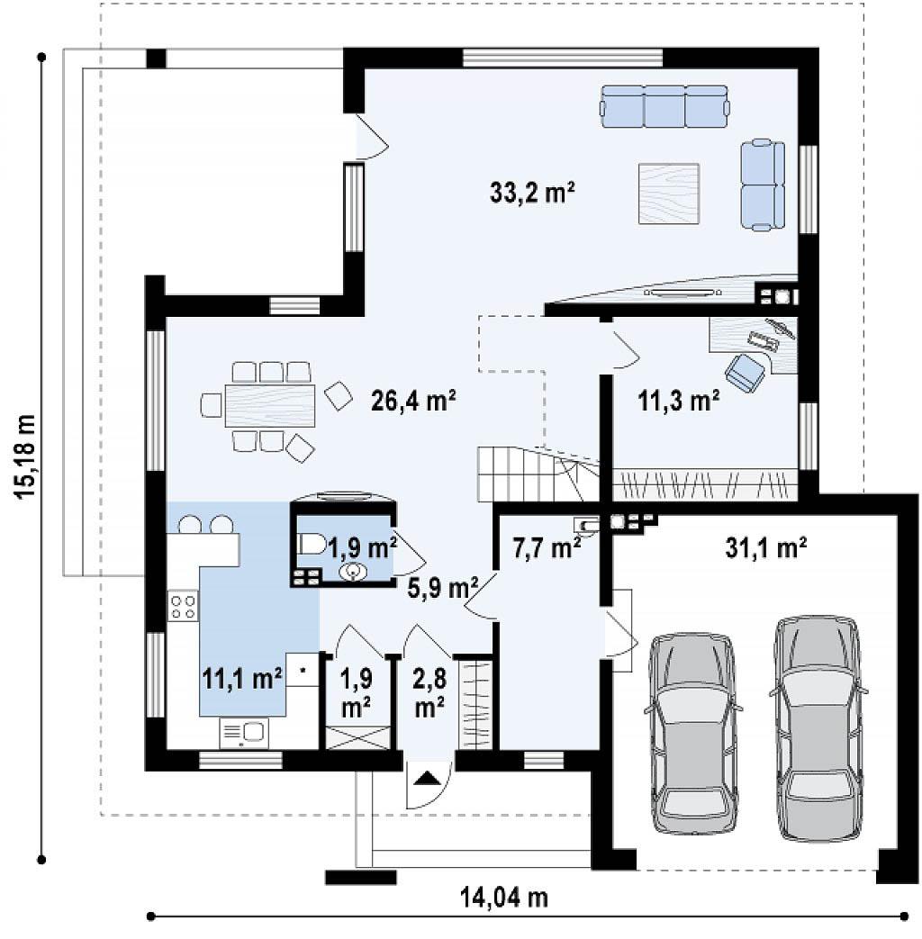 Проект двухэтажного дома из сип панелей в Тюмени tg6-324 план