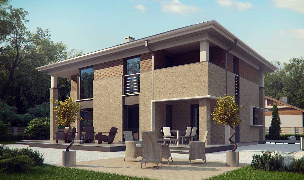 Проект двухэтажного дома из клееного бруса tg9-359-2 в Тюмени