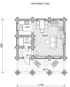 Проект бревенчатого дома с мансардой в Тюмени планировка