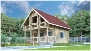 Проект бревенчатого дома с мансардой в Тюмени