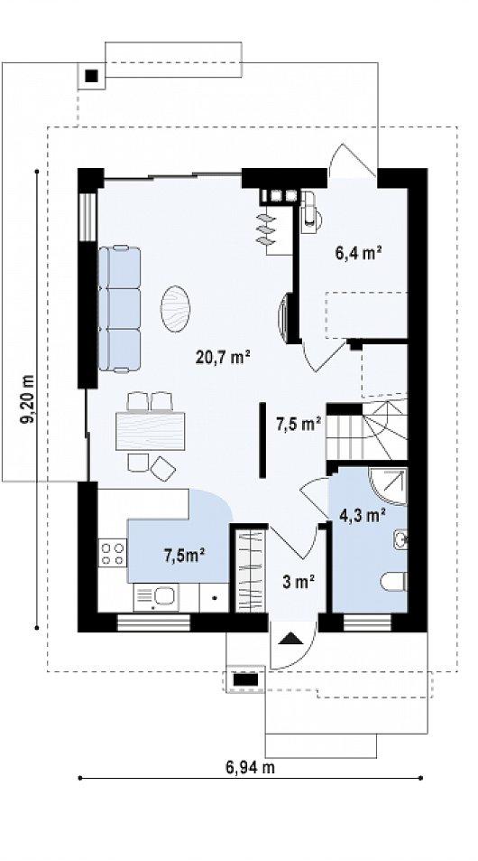 Проект двухэтажного дома из керамзитоблоков t4-129-3