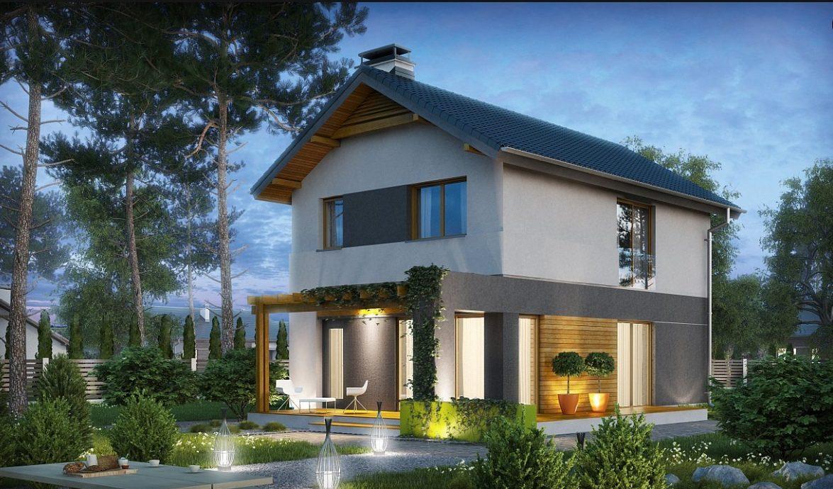 Проект двухэтажного дома из керамзитоблоков t4-129