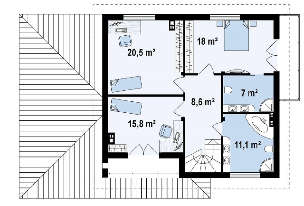 Проект дома из газоблоков tg8-206-4